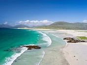 Isle of Harris, part of the island Lewis and Harris in the Outer Hebrides of Scotland. Seilebost Beach on South Harris, in the background Sound of Tra...