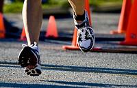 man running at triathlon in Ft Desoto Florida.