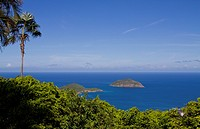 Tropical Island view of Atlantic Ocean in St Thomas US Virgin Islands.
