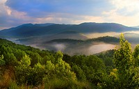 Boyd Gap Brush Creek Overlook of the Great Smoky Mountains in Tennessee.