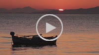 Boat on sunrise. Tyros, Arcadia, Peloponnese, Greece
