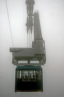 Fog, cableway Sallente away Gento Lake, Torre Capdella, Pyrenees, Catalonia, Spain