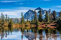 Reflection of Mount Shuksan in Picture Lake, Mt. Baker-Snoqualmie National Forest, Washington, United States of America.