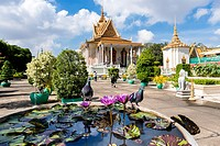 Pink Water Lily and Silver Pagoda. The Silver Pagoda´s proper name is Wat Preah Keo Morokat, which means ´The Temple of the Emerald Buddha´. Royal Pal...