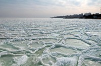 Frozen Black Sea, a rare phenomenon, occured in 1977 for the last time, Odessa, Ukraine, Eastern Europe.