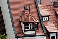Beautiful mansard roof, Nuremberg, Nürnberg, state of Bavaria, Middle Franconia, Germany, Europe.