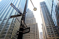 Nassaud and Liberty street signs, Lower Manhattan, New York City, USA.