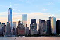 Lower Manhattan skyline at sunset, New York City, USA.