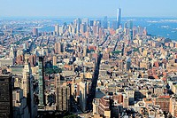 Aerial view of Manhattan from the Empire State Building, New York City, USA
