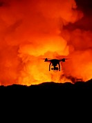 DJI Phantom 2 with GoPro, flying by the Holuhraun Fissure Eruption. August 29, 2014 a fissure eruption started in Holuhraun at the northern end of a m...