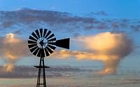 Windmill at dusk, Northern Calirornia.