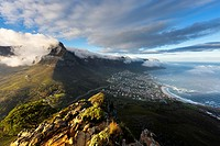Landscape photo of Camps bay and Table Mountain on a misty morning. Cape Town, South Africa.