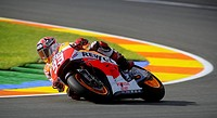 Marc Marquez from Spain and Honda Repsol team takes a curve during Ricardo Tormo´s circuit in Valencia during Grand Prix fron La Comunitat valenciana