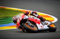 Marc Marquez takes a curve during Grans Prix de la Comunitat Valenciana, at Ricardo Tormo racetrack in Cheste, near Valencia, Spain