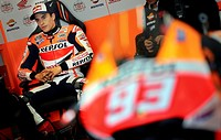 Marc Marquez in the garage at Ricardo Tormo Circuit in Cheste, near Valencia, Spain