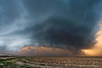Supercell with large hail and highs wind moves southeast in southern Nebraska September 6, 2007.