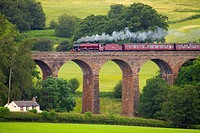 LMS Jubilee Class 45699 Galatea ´Fellsman´, steam train on the Settle to Carlisle Railway Line on Dry Beck Viaduct near Armathwaite Settle to Carlisle...