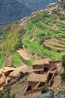 landscape with terraced farming in the valley Arradene. atlas Mountains. Morocco.