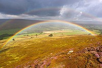 Rainbow over moors near Westerdale, North York Moors National Park, North Yorkshire, England, United Kingdom, Europe.