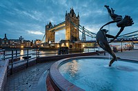 Tower Bridge at dusk, London, England.