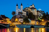 Evening at Aarburg Castle, canton of Aargau, Switzerland.