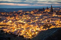 Panorama of Toledo old town at nightfall, Castilla-La Mancha, Spain.