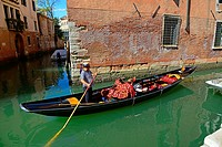 Gondola Canal Venice Italy IT Europe EU Adriatic Sea.