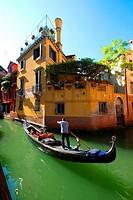 Gondola Canal Venice Italy IT Europe EU Adriatic Sea.