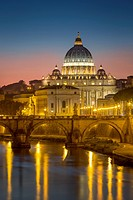 Twilight over River Tibor and the dome of San Pietro, Vatican, Rome, Lazio, Italy.
