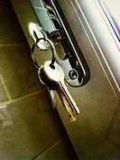 House keys in lock.