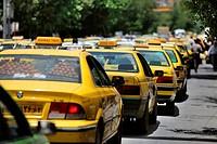 Taxis on the street in Shiraz, Iran, Asian.