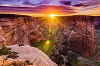 Sunrise over Canyon del Muerto, Canyon de Chelly National Monument, Arizona USA.