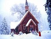 Yosemite Chapel in Snow Fall.