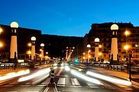 Night traffic on the bridge of kursaal, san sebastian, Basque Country, guipuzcoa, Spain