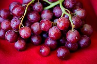Macro shot of red, seedless grapes against red background.
