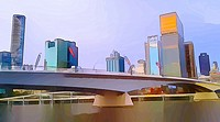 cartoon filter view of Victoria Bridge and Brisbane city skyline.