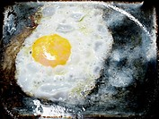 An egg frying in a pan.