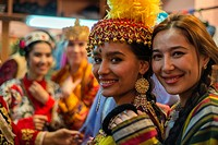 "Portrait of actresses in traditional Uzbek costumes of 19 century after """"Instants of Eternity"""" show in theater of historical costume """"El Merosi"""", ..."