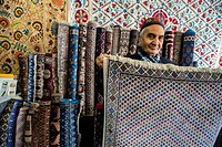 Carpets shop-gallery at the Samarkand-Bukhara Silk Carpets workshop, Samarkand, Uzbekistan.