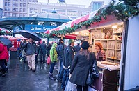 Shoppers browse the Union Square Holiday Market in New York on a rainy Saturday.. 150 vendors, including a ´´Made in Brooklyn´´ section, sell their ho...