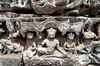 Sculptural Relief, Bayon Temple, UNESCO World Heritage Site, Angkor, Siem Reap,Cambodia, Indochina, Southeast Asia, Asia.
