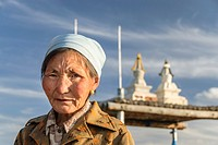 Portrait of an old Mongolian woman, Mongolia, Asia.