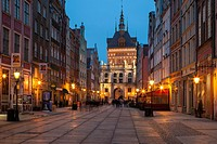 Night falls in old town of Gdansk, pomorskie province, Poland.