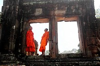 Young monks in Bayon Temple, Angkor, Siem Reap. Cambodia