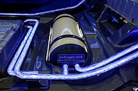 Detroit, Michigan - The hydrogen fuel tank for the Toyota FCV hydrogen fuel cell concept vehicle, on display at the Intelligent Transport Systems Worl...