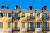 Facade of a neoclassical building, Nice, France, Europe.