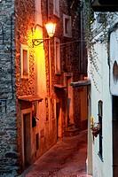 Small alley in Dolceacqua, Liguria, Italy, Europe.