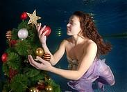 Underwater Christmas, Odessa, Ukraine, Eastern Europe.