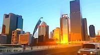 cartoon filter view of car crossing Victoria bridge and Brisbane city skyline at sunset.