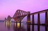 Evening dusk over the Forth Railway Bridge Scotland.
